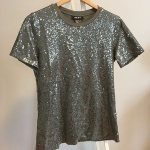 DKNY Olive Sequin T-Shirt.